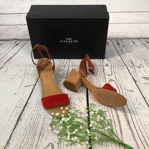 Coach Thompson Suede Block Heel Ankle Strap Sandal